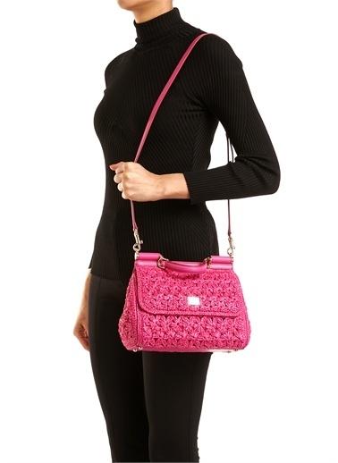 Dolce&Gabbana Dolce&Gabbana 10161886 Çıkarılabilir Omuz Askılı Çıtçıt Kapatmalı Örgü Dokulu Kadın Çanta Fuşya